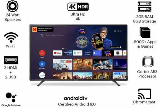 Kodak 50 Inche 4K Ultra HD Certified Android LED TV 50UHDX7XPRO